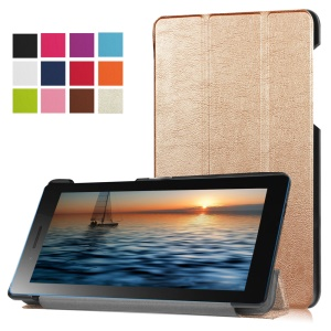 Tri-fold Stand Leather Protection Cover for Lenovo Tab3 7.0 730M - Gold