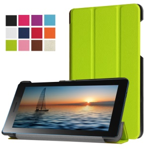 For Lenovo Tab3 7.0 730M PU Leather Tri-fold Stand Cover - Green