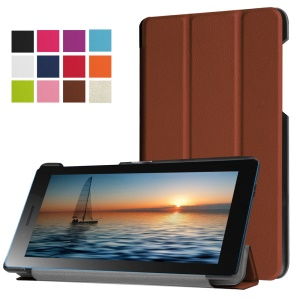 Tri-fold Flip Leather Case Cover for Lenovo Tab3 7.0 730M - Brown