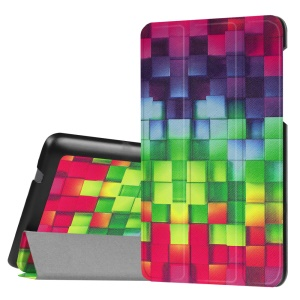 Tri-fold Stand Flip Leather Cover for Lenovo Tab3 7.0 730M - 3D Visual Effect Checks