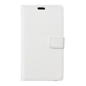 Genuine Leather Wallet Stand Cover for Lenovo Vibe C2 - White