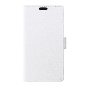 Crocodile Texture Leather Wallet Cover for Lenovo Vibe C2 - White