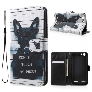 Patterned Leather Wallet Case for Lenovo Vibe K5 / Vibe K5 Plus - Dog and Do Not Touch My Phone