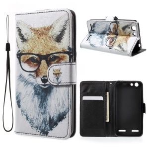 Leather Wallet Case with Wrist Strap for Lenovo Vibe K5 / Vibe K5 Plus - Fox Wearing Glasses