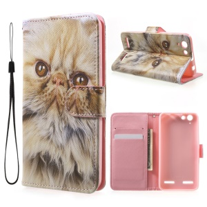 Patterned Leather Card Slot Case with Lanyard for Lenovo Vibe K5 / Vibe K5 Plus - Lovely Cat