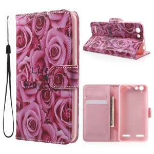 Patterned Leather Card Slot Cover with Lanyard for Lenovo Vibe K5 / Vibe K5 Plus - Pretty Roses