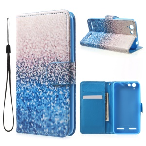 Patterned Leather Wallet Stand Phone Shell for Lenovo Vibe K5 / Vibe K5 Plus - Sequins