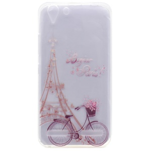 Patterned TPU Gel Case for Lenovo Vibe K5 / Vibe K5 Plus - Eiffel Tower and Bike