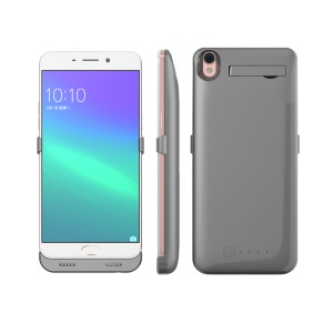 5000mAh Battery Charger Case with Kickstand for Oppo R9/F1 Plus - Grey