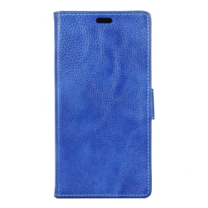 Litchi Grain Folio Leather Wallet Stand Shell for Lenovo Vibe C2 Power - Dark Blue