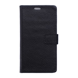 Litchi Skin Genuine Leather Wallet Case for Lenovo Vibe C2 Power - Black