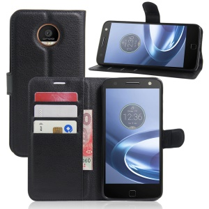 Litchi Skin Leather Wallet Case for Motorola Moto Z Play - Black