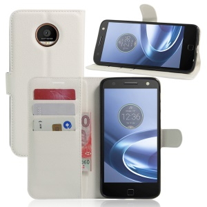 Litchi Skin Leather Wallet Cover for Motorola Moto Z Play - White