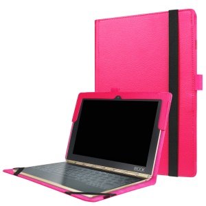 Litchi Texture Stand Leather Shell for Lenovo Yoga Book 2 - Rose