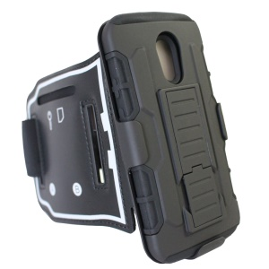Armor Armband Hybrid Cover PC + Silicone TPU Case for Motorola Moto G (2nd gen) XT1063 XT1072 / Dual SIM
