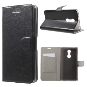 Crazy Horse Card Holder Leather Case for Lenovo K6 Note Built-in Steel Sheet - Black