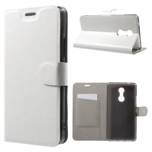 Crazy Horse Magnetic Leather Cover for Lenovo K6 Note Built-in Steel Sheet - White
