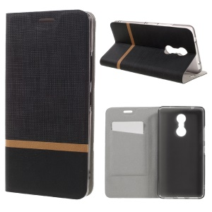 Cross Texture Leather Card Holder Case for Lenovo K6 Note with Steel Sheet - Black