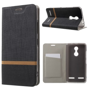 Cross Texture Card Holder Leather Stand Case for Lenovo K6 - Black