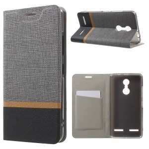 Cross Texture Card Holder Leather Stand Cover for Lenovo K6 - Grey