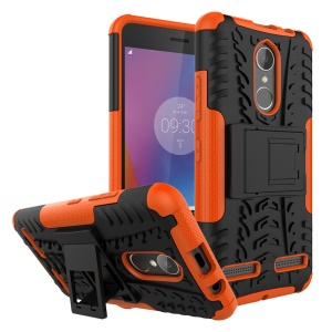 Tyre Pattern PC + TPU Hybrid Phone Cover for Lenovo K6 with Kickstand - Orange