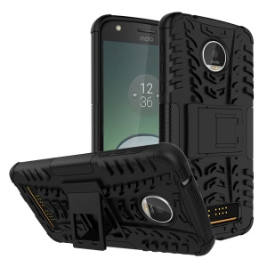 Anti-slip PC + TPU Hybrid Case with Kickstand for Motorola Moto Z Play - Black