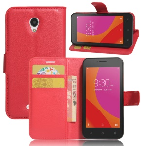 Litchi Texture Leather Wallet Stand Shell for Lenovo A Plus A1010 - Red