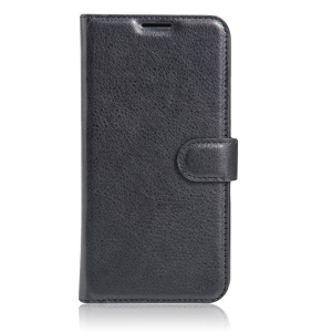 Litchi Skin Stand Wallet Leather Case for Lenovo Vibe C2 Power - Black