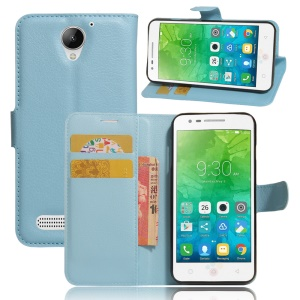 Litchi Skin Stand Leather Mobile Phone Case for Lenovo Vibe C2 Power - Blue