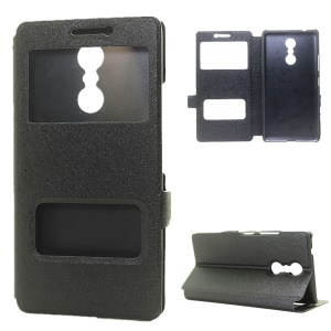 Dual View Window Silk Texture Leather Case for Lenovo K6 Note - Black