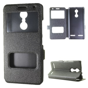 For Lenovo K6 Dual View Window Silk Texture Leather Case - Black