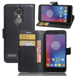 Litchi Skin Wallet Leather Stand Case for Lenovo K6 - Black