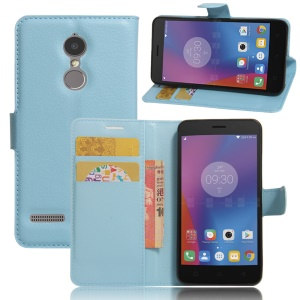 Litchi Skin Leather Stand Case with Card Slots for Lenovo K6 - Blue