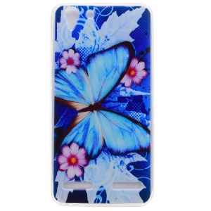 For Lenovo Vibe K5 / Vibe K5 Plus Patterned TPU Soft Cell Phone Cover - Blue Butterfly