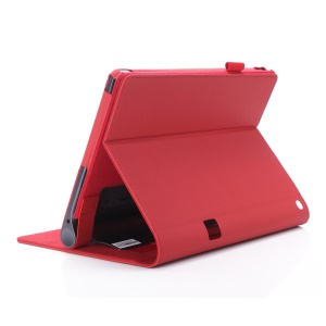 Leather Card Holder Stand Shell with Elastic Strap for Lenovo Yoga Tab 3 Plus - Red