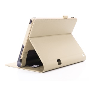 Leather Card Slot Stand Cover with Elastic Strap for Lenovo Yoga Tab 3 Plus - Gold