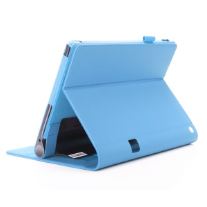 Leather Card Slot Stand Shell with Elastic Strap for Lenovo Yoga Tab 3 Plus - Blue