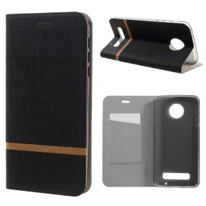 Cross Texture Leather Stand Case with Card Slot for Motorola Moto Z Play Built-in Steel Sheet - Black