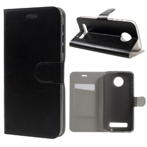 Crazy Horse Leather Stand Card Holder Case for Motorola Moto Z Play Built-in Steel Sheet - Black