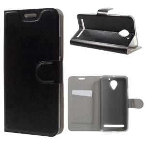 Crazy Horse Leather Stand Case for Lenovo Vibe C2 Power Built-in Steel Sheet - Black