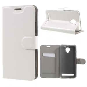 Crazy Horse Leather Stand Cover for Lenovo Vibe C2 Power Built-in Steel Sheet - White