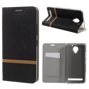 Cross Texture Leather Stand Case with Card Slot for Lenovo Vibe C2 Power Built-in Steel Sheet - Black