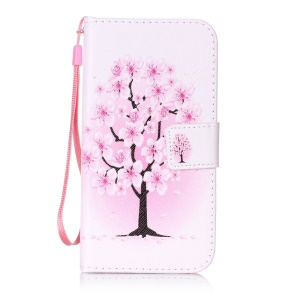 Patterned Leather Wallet Case with Strap for Lenovo Vibe K5 / K5 Plus - Pretty Plum Flower