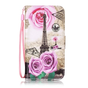 Patterned Leather Wallet Case with Strap for Lenovo Vibe K5 / K5 Plus - Eiffel Tower and Rose Flower