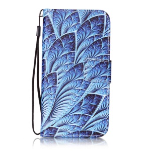 Patterned Leather Wallet Case with Strap for Lenovo Vibe K5 / K5 Plus - Unique Leaves