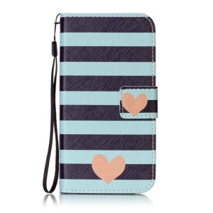 Patterned Leather Wallet Case with Strap for Lenovo Vibe K5 / K5 Plus - Stripes and Hearts
