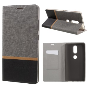 Cross Texture Leather Card Holder Stand Phone Cover for Lenovo Phab2 Plus Built-in Steel Sheet - Grey