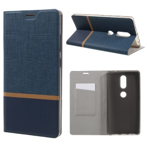 Cross Texture Leather Card Holder Stand Phone Shell for Lenovo Phab2 Plus Built-in Steel Sheet - Blue