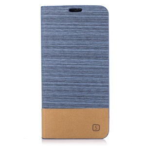 Two-color Linen Texture Leather Stand Case with Card Slot for Motorola Moto E3 - Baby Blue