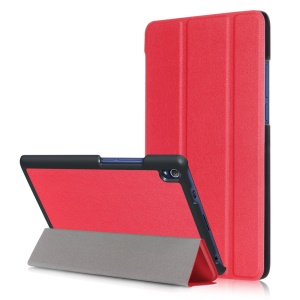 Tri-fold Flip Leather Smart Stand Case for Lenovo Tab3 8 Plus - Red